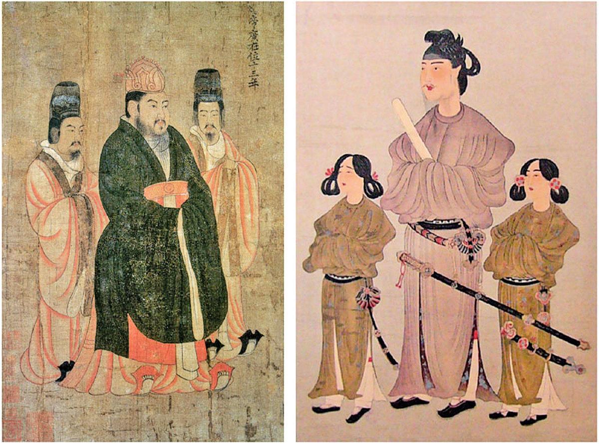 隋煬帝(左)與日本聖德太子(右)畫像。(公有領域)