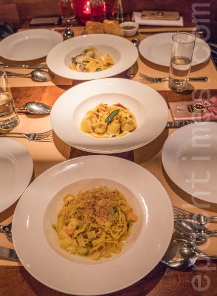 上:Pappardelle(黑松露香菇闊條麵)、中:Cappelletti(芝士南瓜餛飩)、下:Spaghetti(蜆肉鮮蝦意粉)。(米芝Gi提供)