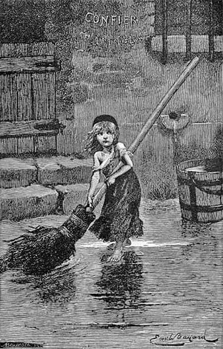 雨果 《孤星淚》中處於社會底層受苦受難的珂賽特,此畫像出自雨果1862年的原著中。(維基百科)
