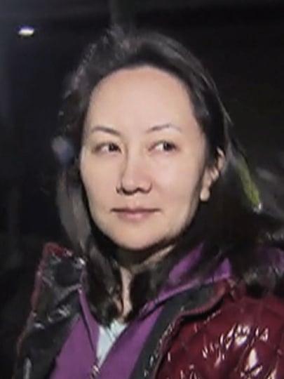 在加拿大被捕的華為集團副董事長孟晚舟獲保釋後的照片。(AFP)