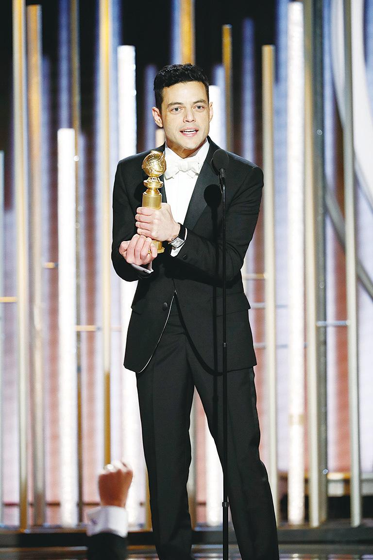 雷米馬利克(Rami Malek)憑藉《波希米亞狂想曲》(Bohemian Rhapsody)奪得劇情類最佳男主角。(Paul Drinkwater/NBCUniversal via Getty Images)