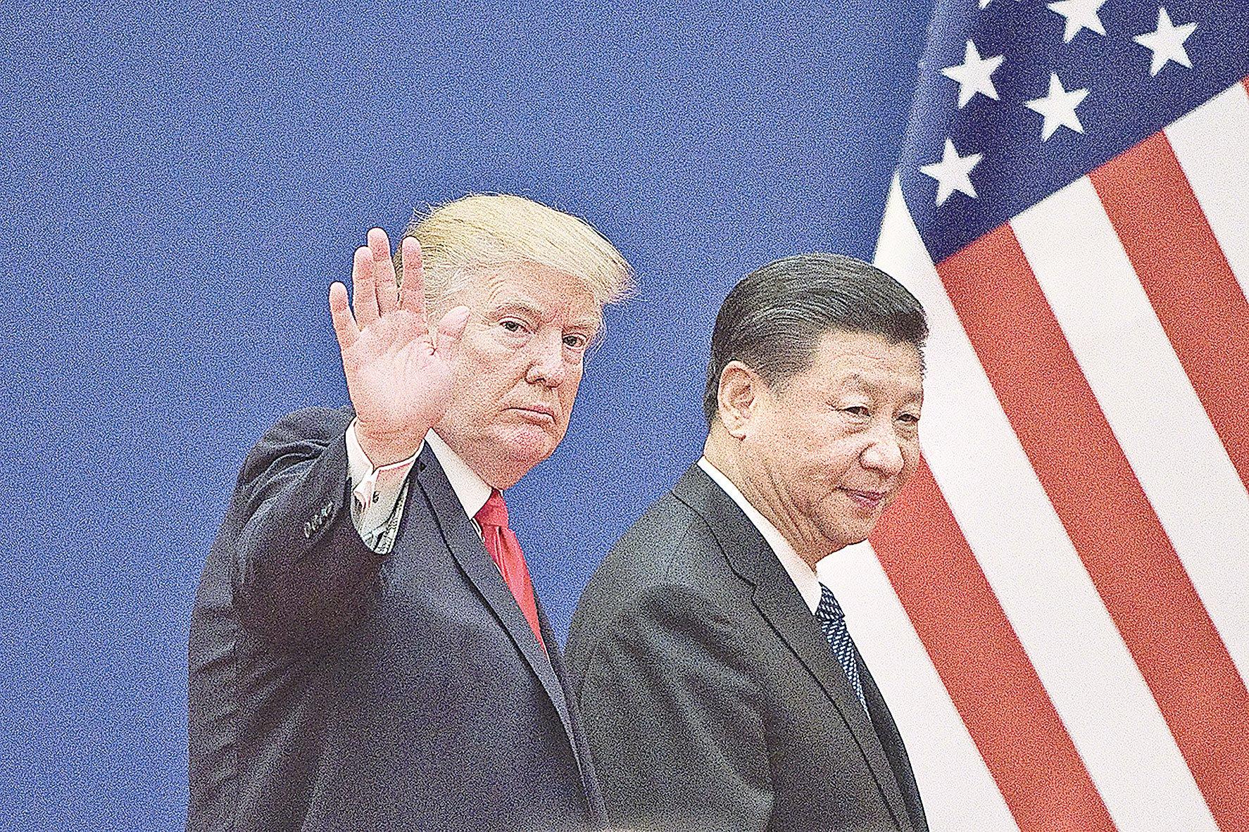 圖為2017年11月9日,特朗普在北京會見習近平。(Getty Images)