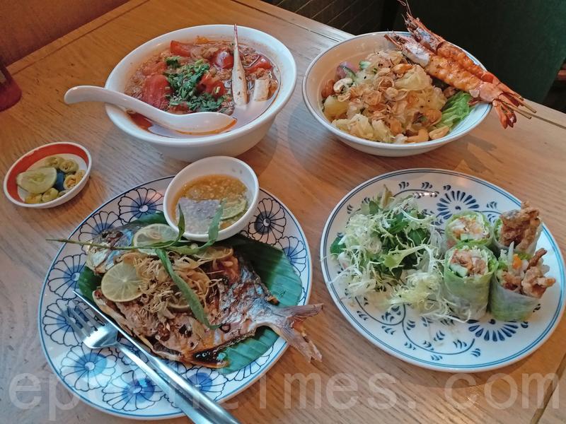 安軟殼蟹卷、邊和燒大蝦柚子沙律、香茅燒魚和河內番茄蟹肉湯檬。