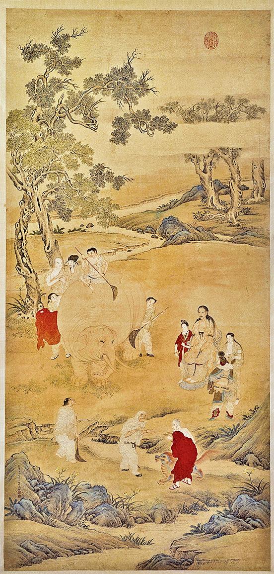 清‧丁觀鵬《乾隆皇帝洗象圖》(公有領域)