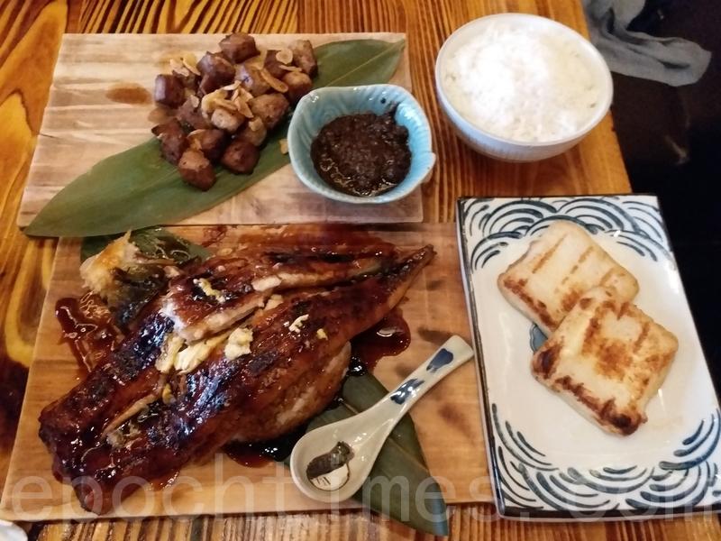 原條炭火燒鰻魚飯、黑蒜汁燒鹿兒島黑毛豬定食和流心芝士魚餅。