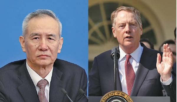 中美貿易談判最棘手的問題要留到後續的高層會談來解決。中美的整體談判代表分別為中共副總理劉鶴(左)和美國貿易代表萊特希澤。(Getty Images)