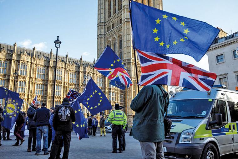 2019年1月08日,英國倫敦國會前的抗議者。(Getty Images)