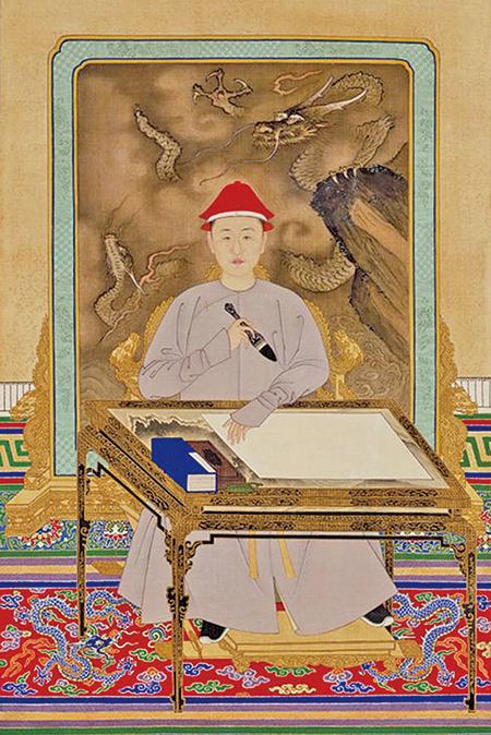 康熙帝便裝寫字像,北京故宮博物院藏。(公有領域)