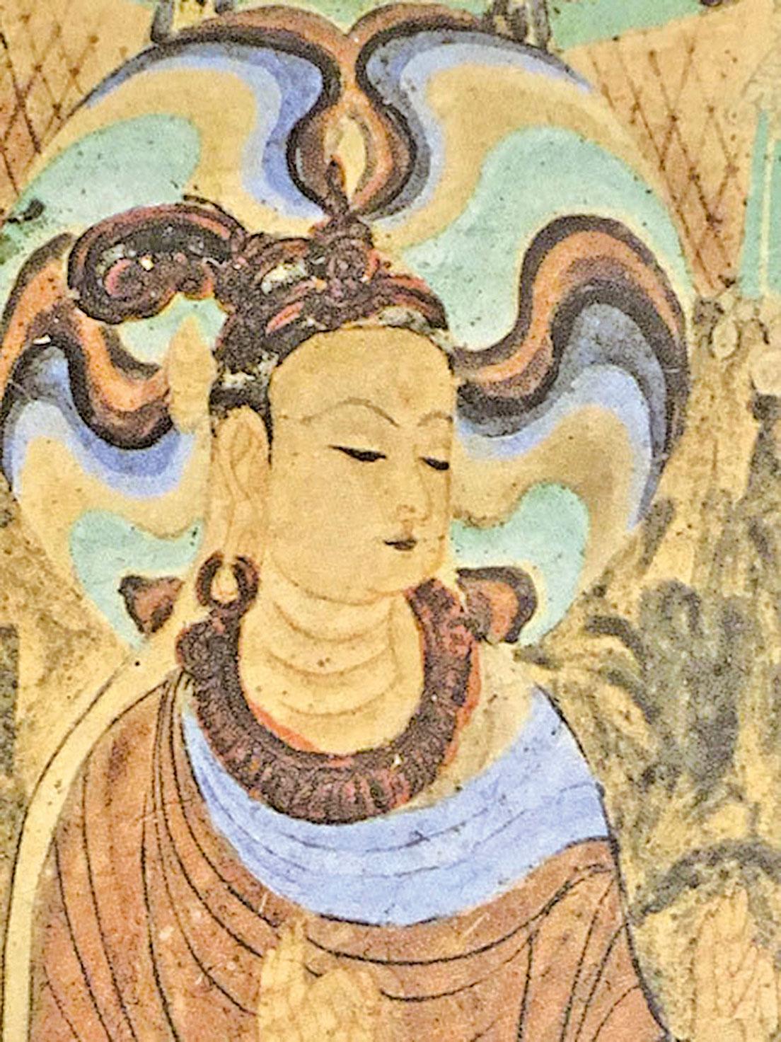 媲摩城釋迦瑞像。榜題《于闐媲摩城中雕檀瑞像》,唐代。敦煌莫高窟第231窟壁畫。 (公有領域)