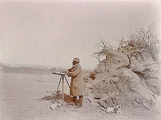 英國考古學家斯坦因在塔克拉瑪干沙漠考察,大英博物館藏。(公有領域)