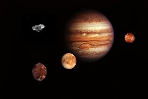 飛過木星的UFO想像圖。