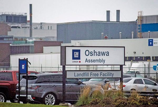 通用汽車計劃在2019年底前裁掉15%的員工,或高達14,700人。圖為通用汽車加拿大安省的奧沙瓦組裝廠。(加通社)