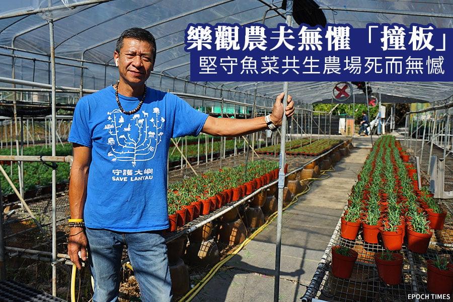 坪輋居民張貴財(財哥),創辦坪輋國泰花園魚菜共生實驗農場。(陳仲明/大紀元)