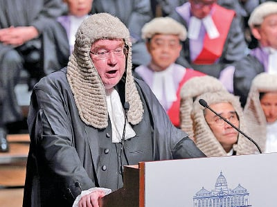 大律師公會主席、資深大律師戴啟思強調普通法是香港特區成立時最珍貴的禮物。(李逸/大紀元)