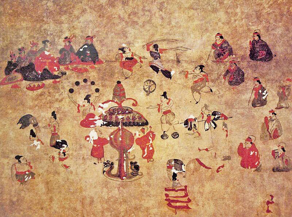 漢代百戲壁畫。(公有領域)
