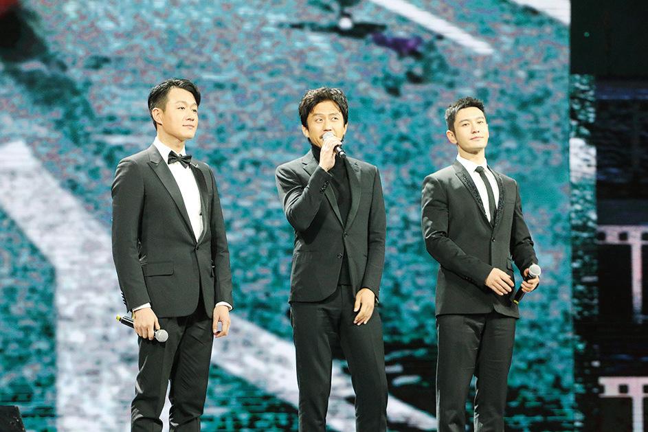 (左起)佟大為、鄧超與黃曉明。(資料圖片)