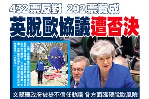 432票反對  202票贊成 英脫歐協議遭否決
