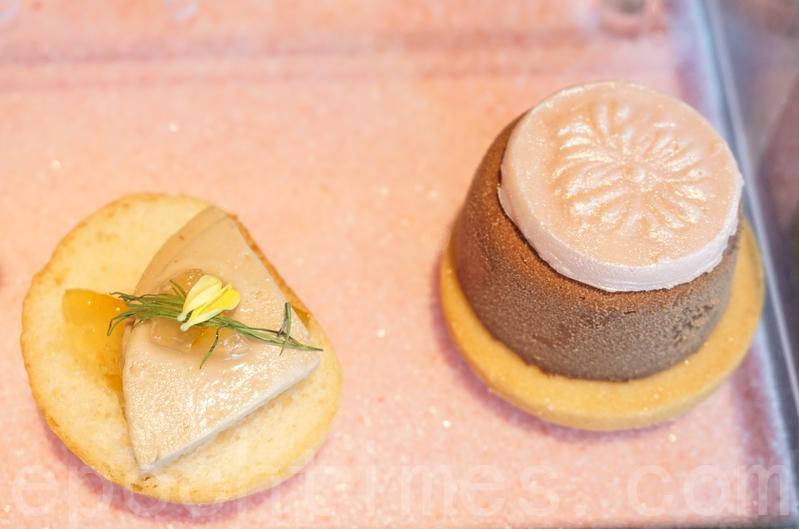 鵝肝醬多士(左)及迷迭香朱古力蛋糕。