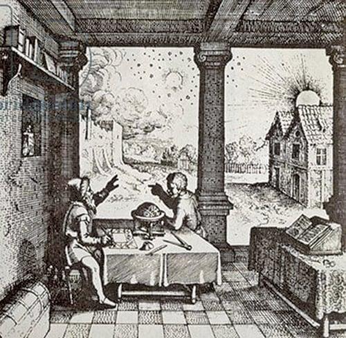 〈正在預測天相的占星師〉,出自羅伯特.弗拉德著:《兩個世界的歷史》,1617年。(維基公共領域)