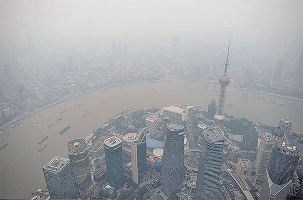 上海霧霾。(AFP)