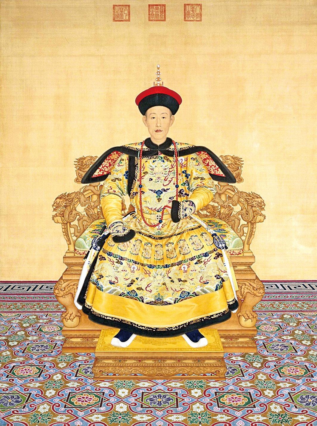 清‧郎世寧繪《清高宗乾隆帝朝服像》。(維基百科)