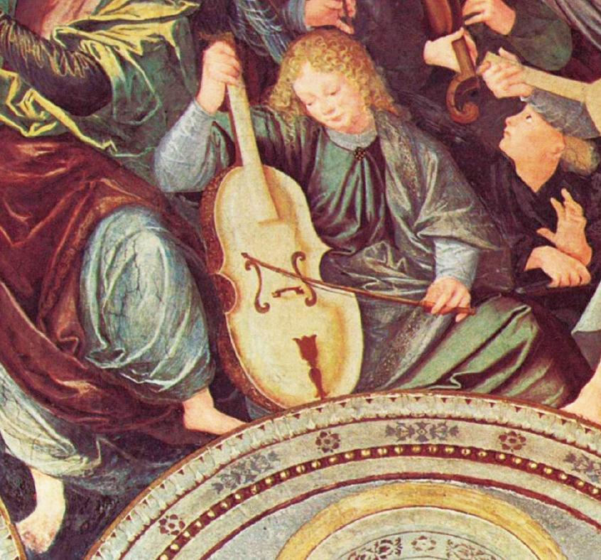 巴赫在中年的時候,譜寫了六闋《無伴奏大提琴組曲》,當時一點也沒有受到重視……至今「巴赫無伴奏大提琴獨奏組曲」已成為所有大提琴家演奏里程上的試金石。圖為《天使的榮耀》(Glory of Angels),1535年,加登齊奧費拉里(Gaudenzio Ferrari,北意大利畫家,大約公元1471~1546年),薩龍諾(Saronno)地區聖母瑪利亞奇蹟教堂天頂畫局部。