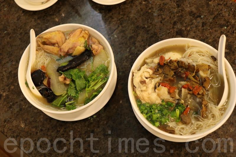 馳名雞湯米(左)及天麻川芎魚頭米。