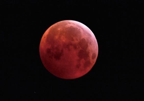 圖為2019年1月21日,在意大利北部米蘭的「超級血狼月」登場。(AFP)