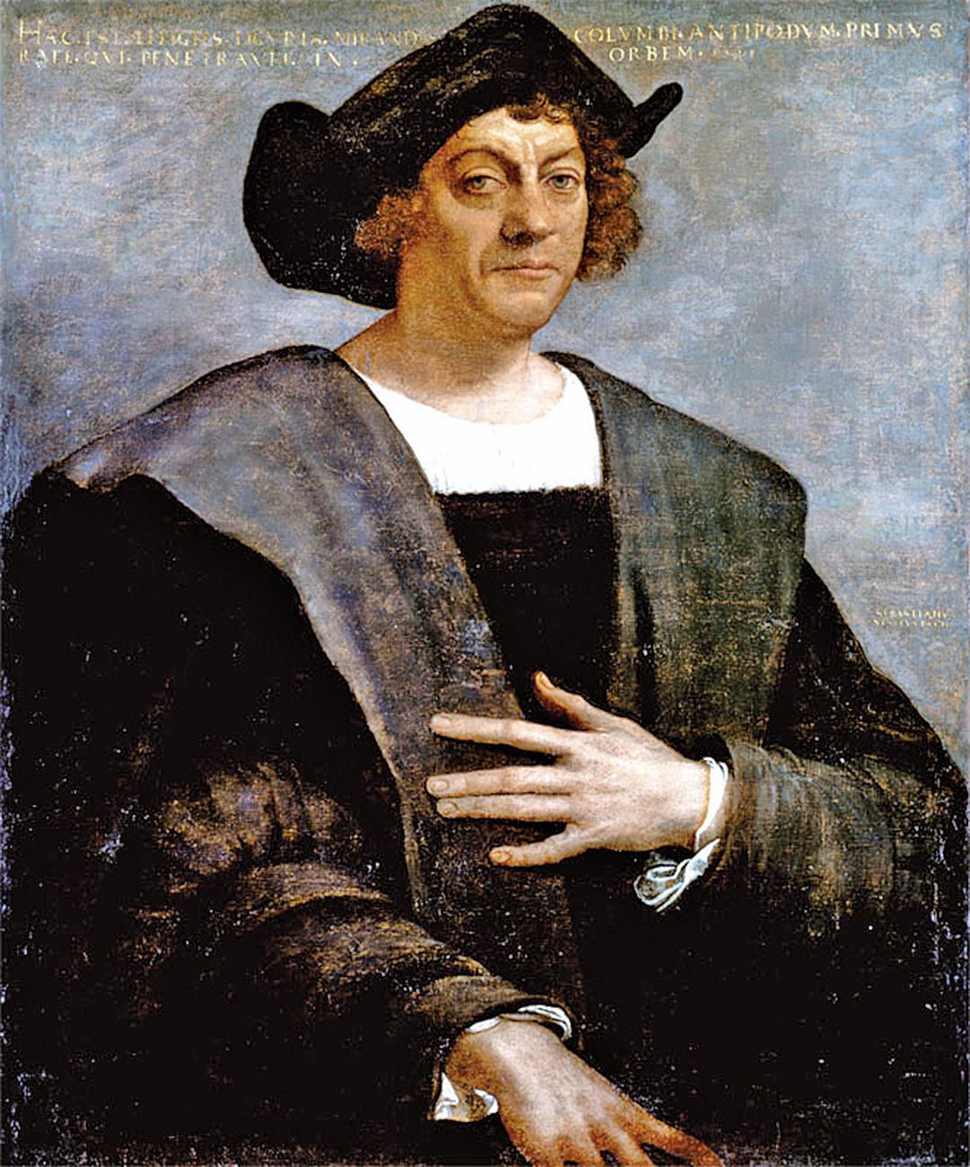 1496年,哥倫布向西班牙國王提出建議,依照他的航海圖向東航向中國重建與元帝國的聯繫。圖為皮永博於1519年所作的哥倫布肖像。(公有領域)