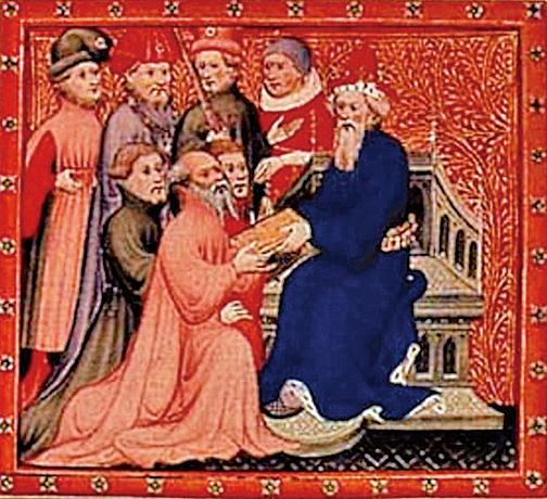 《馬可孛羅遊記》插圖:馬可孛羅和蒙古帝國大汗忽必烈在大都的王廷。(公有領域)