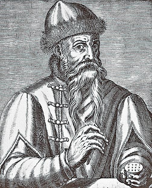 第一位發明活字印刷術的歐洲人谷騰堡。圖為16世紀的銅版畫中的谷騰堡。(公有領域)