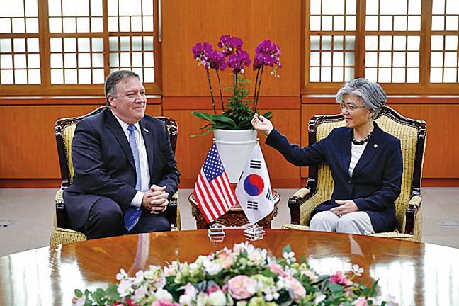 圖為美國國務卿蓬佩奧2018年6月14日在南韓首爾與南韓外交部長康京會談。(Getty Images)