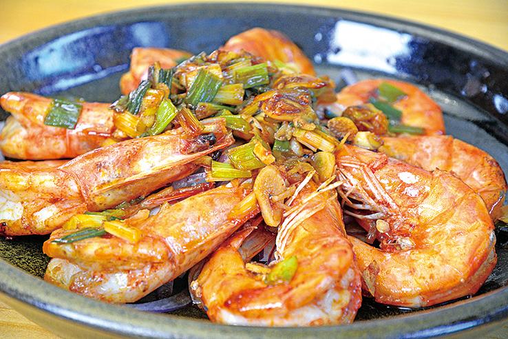 蔥燒甜蝦。