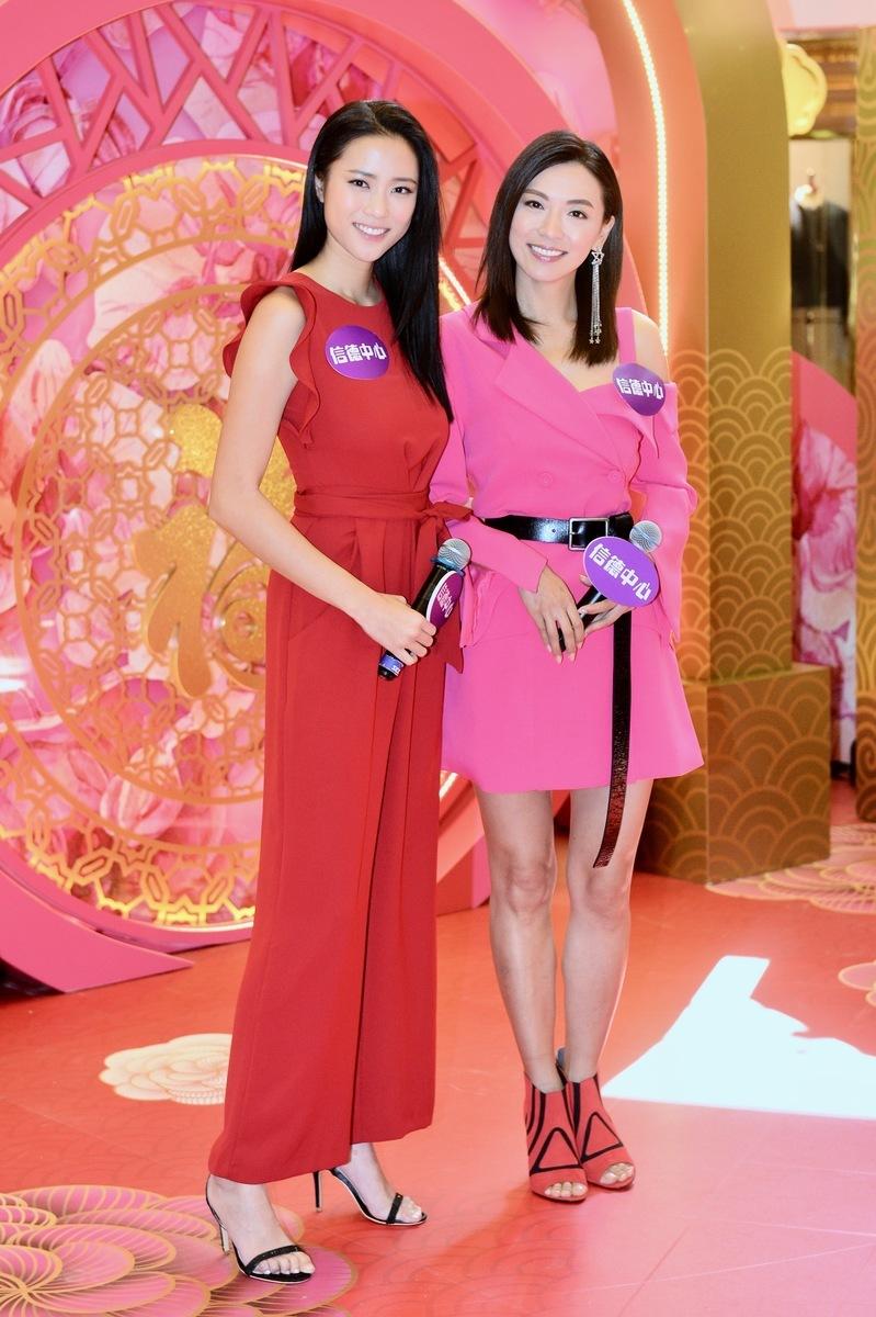 劉穎鏇(左)與陳煒到上環信德中心出席賀新春活動。(宋碧龍╱大紀元)