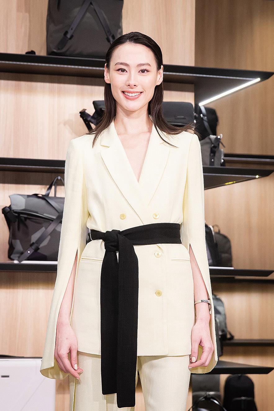 女星梁洛施1月23日至台北出席旅行概念店開幕活動。(陳柏州/大紀元)