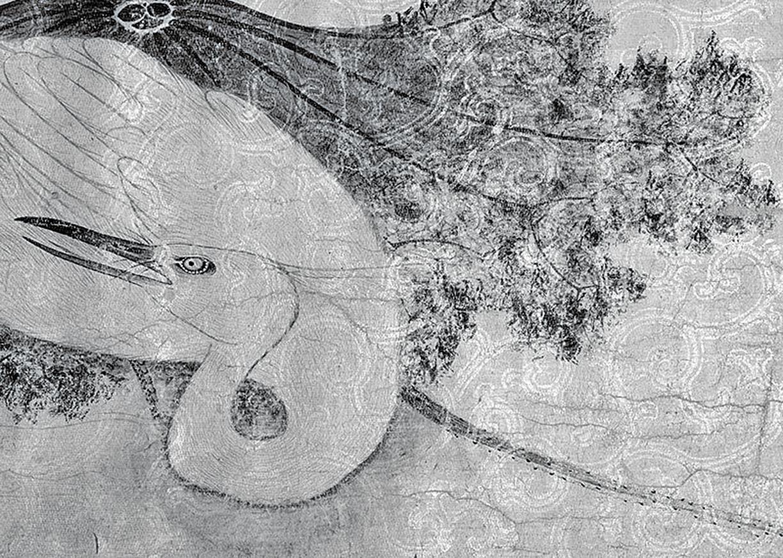 「砑花」技法乃是利用雕版在紙上研壓出凹凸紋飾。「花箋」泛指經過裝飾的箋紙。圖為宋徽宗《池塘秋晚圖》經過「砑花」技法的花箋畫紙(局部)。(臺北故宮博物院藏)