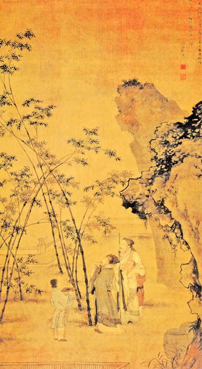 .杜堇《題竹圖》此圖繪蘇東坡題竹的故事,畫面正中高帽長鬚、執筆題竹者即為蘇東坡。(公有領域)