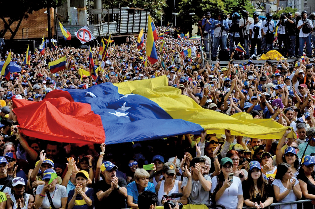 1月23日在委內瑞拉發生的反對現任總統馬杜羅的大規模抗議活動。(AFP)