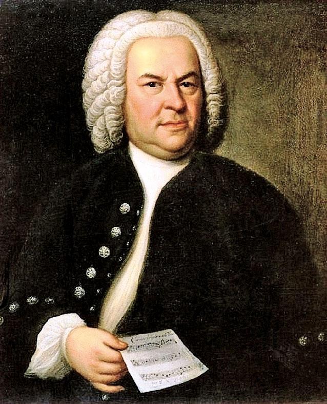 《巴赫肖像》(Portrait of Johann Sebastian Bach),油畫, 78 × 61釐米,巴洛克晚期宮廷畫家艾利阿斯豪斯曼(Elias Gottlob Haussmann)1748年作,當時巴赫61歲。原畫懸掛在萊比錫城市歷史博物館,此為複製品,現藏萊比錫巴赫檔案館。(公有領域)