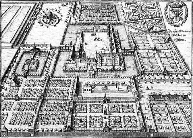 科滕王子宮,四周可見護城河,銅版畫,瑞士版畫家老馬特烏斯梅里安(Matthäus Merian der Ältere,1593~1650)作。(公有領域)