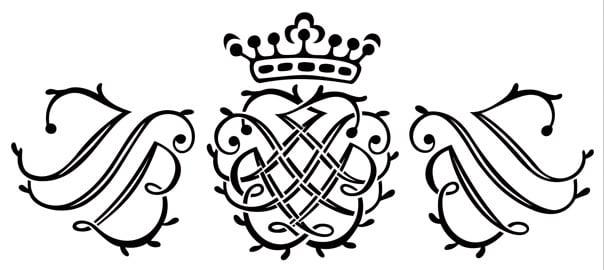 巴赫的印章,使用時期自1722年到整個萊比錫時期。由巴赫名字縮寫J、S、B三個字母組成。左右對稱,並在中心交會成寶石形。(公有領域)