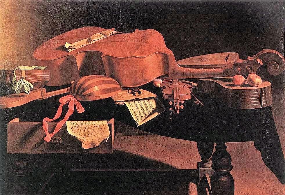 《桌上的樂器》(Musical Instruments on the Table), 油畫,高99 ×146釐米,意大利畫家埃瓦里斯托巴斯赫尼斯(Evaristo Baschenis)作,布魯塞爾比利時皇家美術館藏。(公有領域)