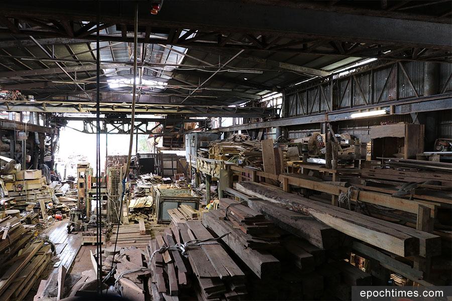 原本要進入堆填區木材,在志記鎅木廠的挽救下得以留存。(陳仲明/大紀元)