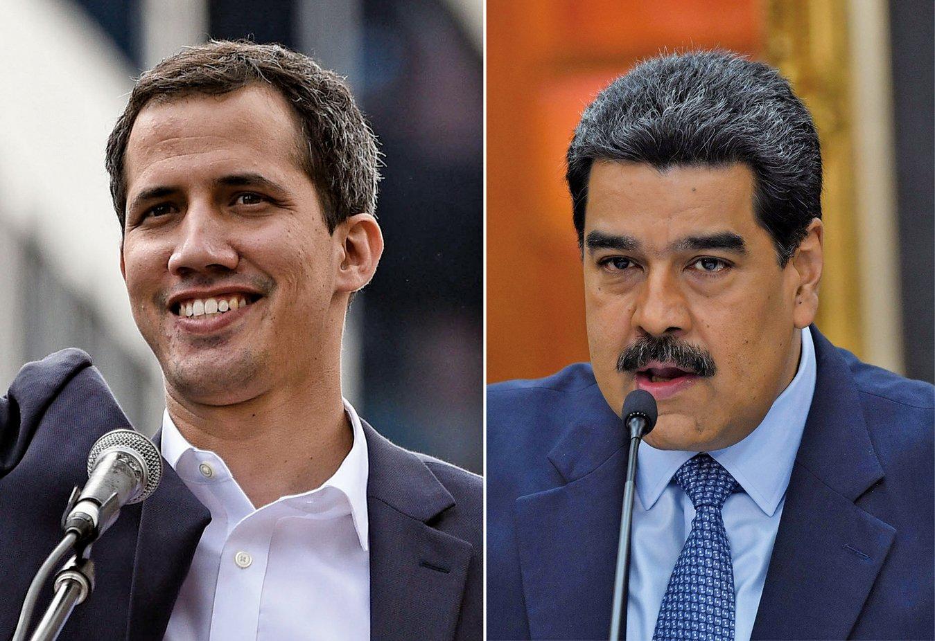 在國際壓力下,委內瑞拉總統馬杜羅(右)的立場出現軟化。臨時總統瓜伊多(左)表示,堅信大家可以擁有一個更好的國家。(AFP)