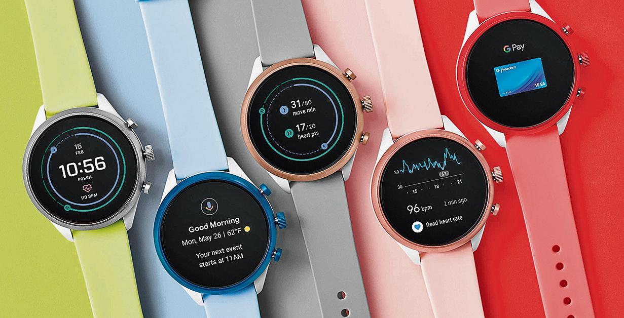製錶商Fossil的智能手錶技術受到了谷歌的青睞。圖為Fossil的運動型智能手錶。(Fossil)