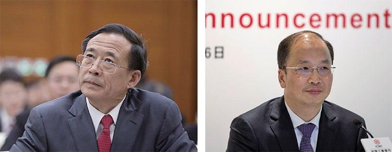 57歲的中國證監會主席劉士余(左)調任中華全國供銷總社黨組副書記,54歲的工行董事長易會滿(右)出任證監會主席。(AFP)