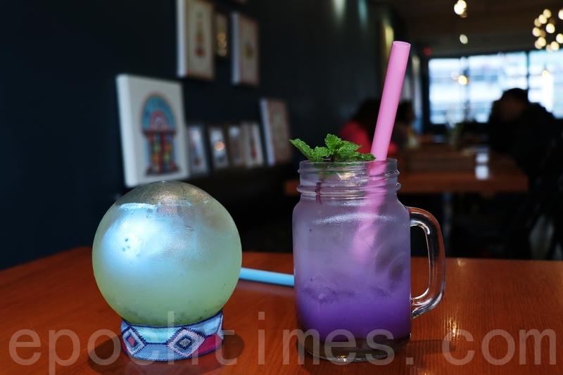 水晶球特飲同柚子藍蝶花乳酸特飲。