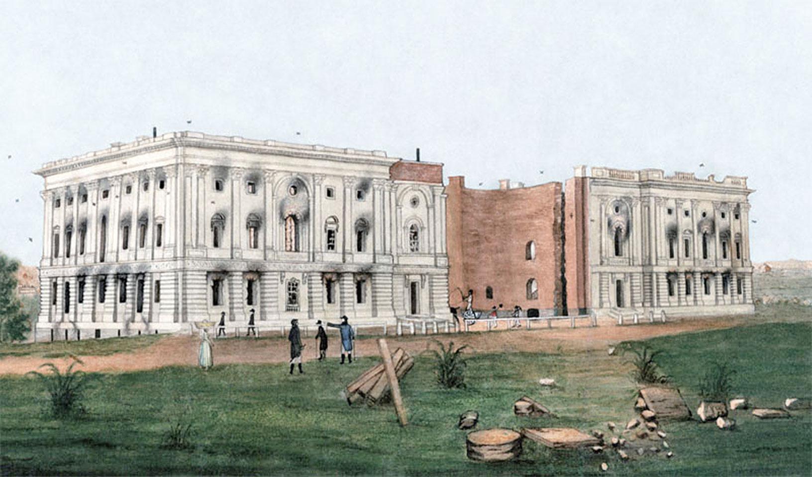 華盛頓大火之後的白宮。(維基百科)