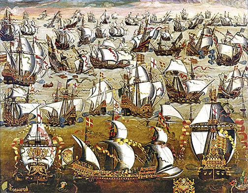 1588年8月,西班牙無敵艦隊和英國戰艦,佚名。(維基百科)