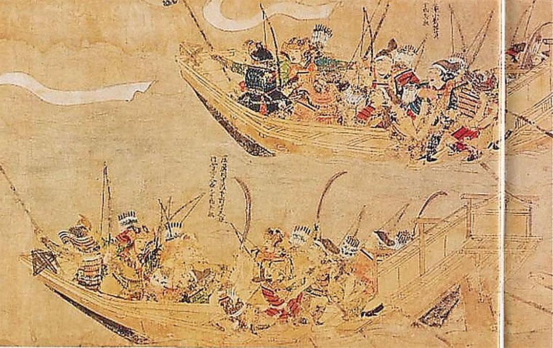 日、元水軍海戰,竹崎季長繪〈蒙古襲來繪詞〉,1293年。(維基百科)